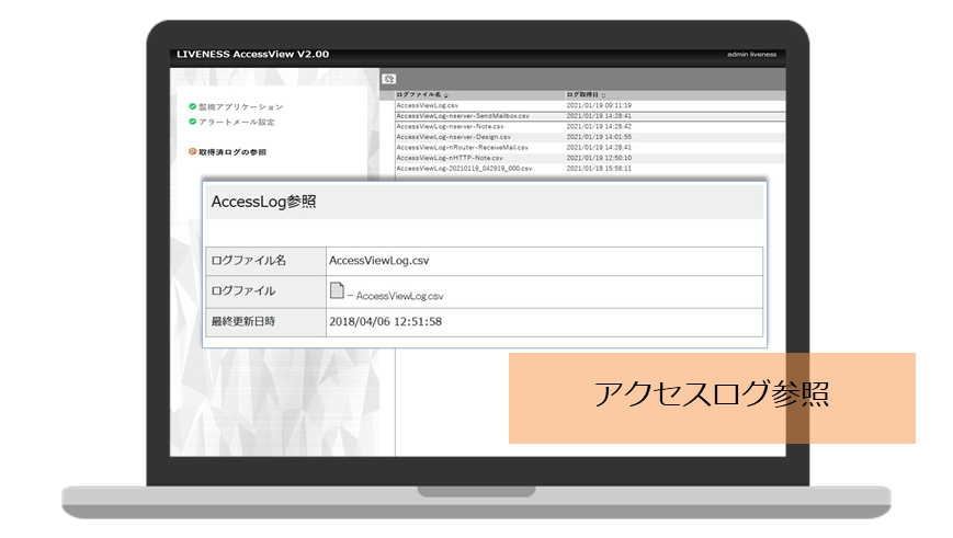 「LIVENESS AccessView」管理画面